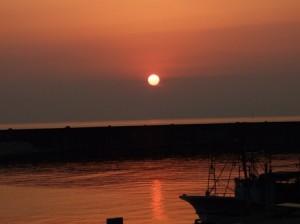 桑川港の夕日